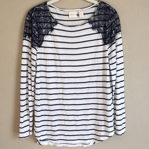 Chico's Lace Striped Sweater Top